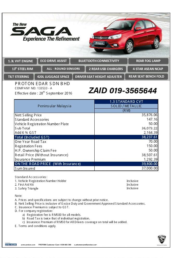 PRICE LIST SAGA R STANDARD AUTO