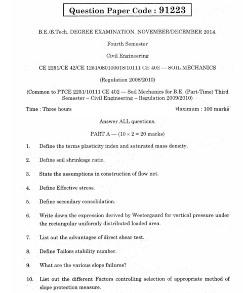 Ce6405 soil mechanics be civil nov dec 2014 question paper for Soil questions