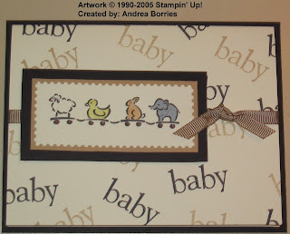 "Gender-neutral baby card with ""train"" of toy animals."