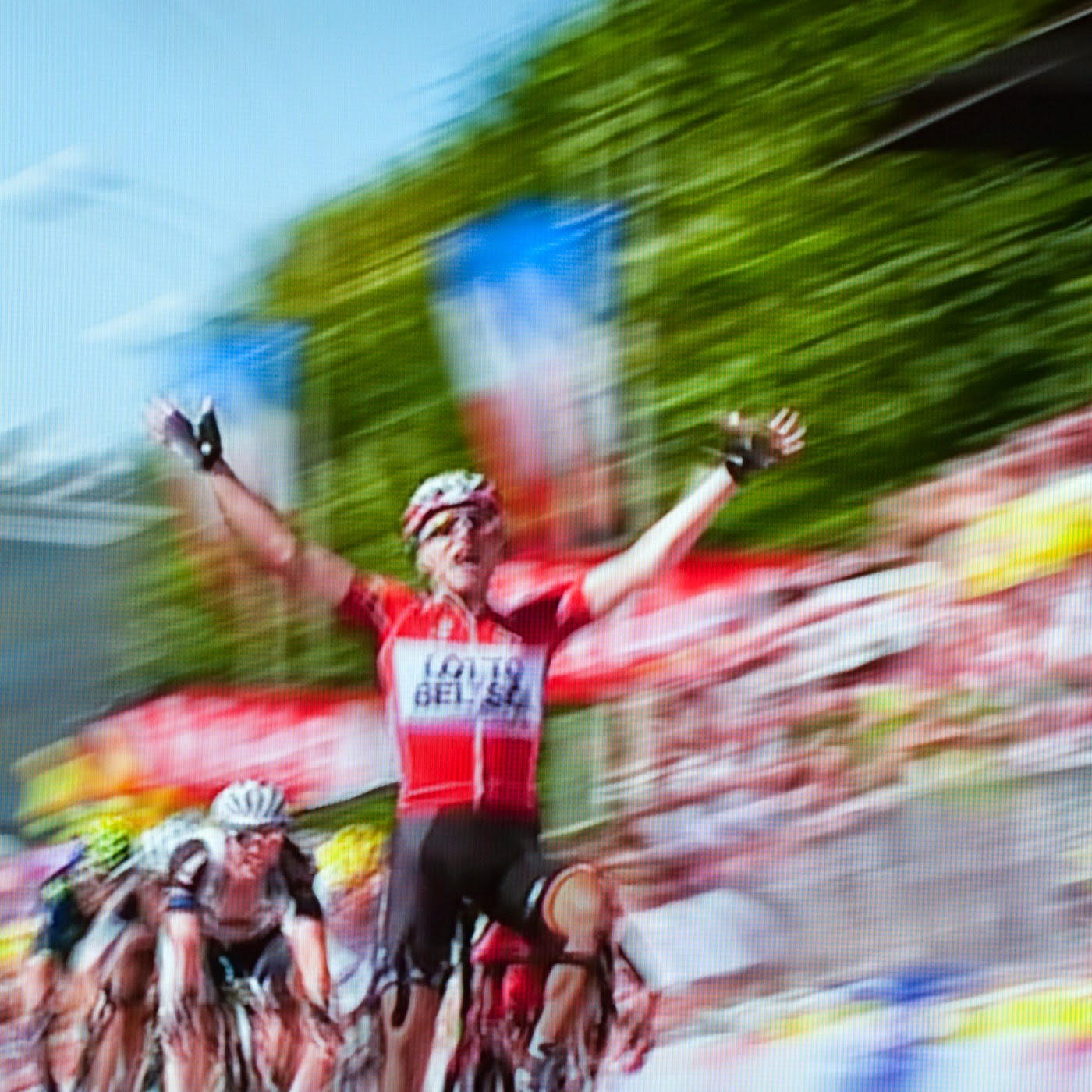 le tour de france, motion blur, blur, abstract, abstraction, tim macauley, photographic art, you won't see this at MoMA, appropriation, found imagery, le tour 2014, tv footage, portrait, timothy Macauley, the light monkey collective, grand cycling tour, sprint finish, team lotto belisol
