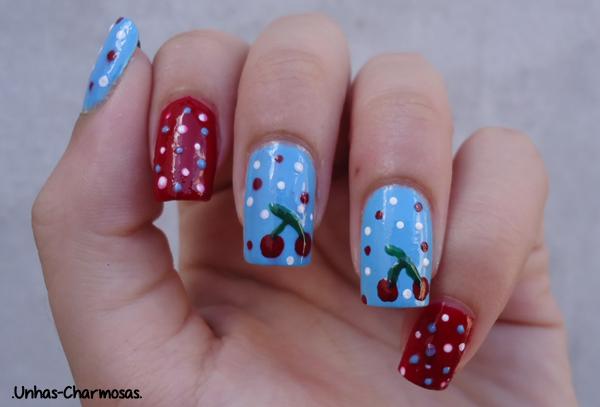nail art cereja, nail art cerejinha, nail art, tutorial, tutorial nail art cereja, unhas fofas, nail art fofa