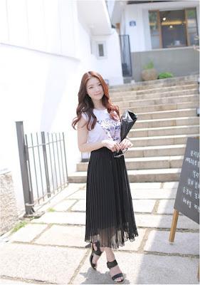 Contoh Rok Panjang Korea Bahan Sifon