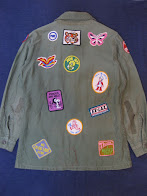 70's MANY PATCHES               HIPPIE JACKET               BACK STYLE