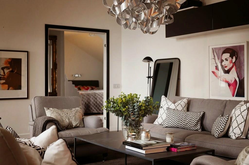 White interior design styl skandynawski z nut glamour for Salon open space