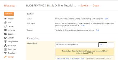 Cara Mengganti Alamat Blog Di Blogger