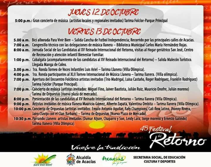 PROGRAMACION OFICIAL FESTIVAL DE RETORNO