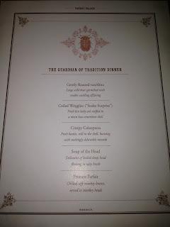temple of doom banquet menu