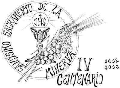Logotipo conmemorativo del IV centenario de la fundación de la cofradía del Santísmo Sacramento de la Minerva aprobado por la junta de Seises de la Real cofrafía de Minerva y Vera Cruz en el año 2011. Autor. M. López Becker.