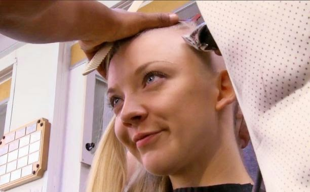 natalie dormer cressida hunger games mockingjay part one behind the scenes shave head