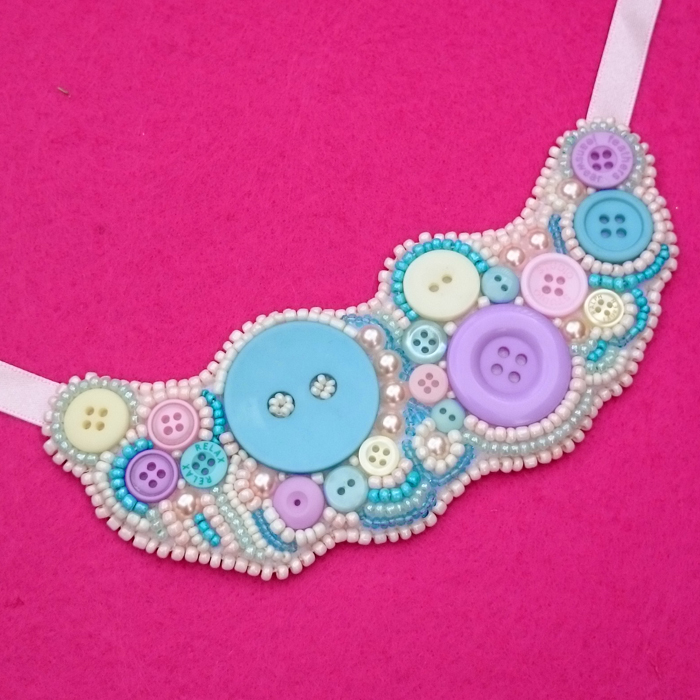 Button and bead embroidered statement necklace tutorial