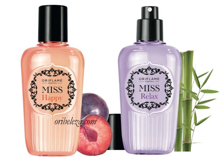 Sprays Perfumados Miss Happy e Miss Relax da Oriflame