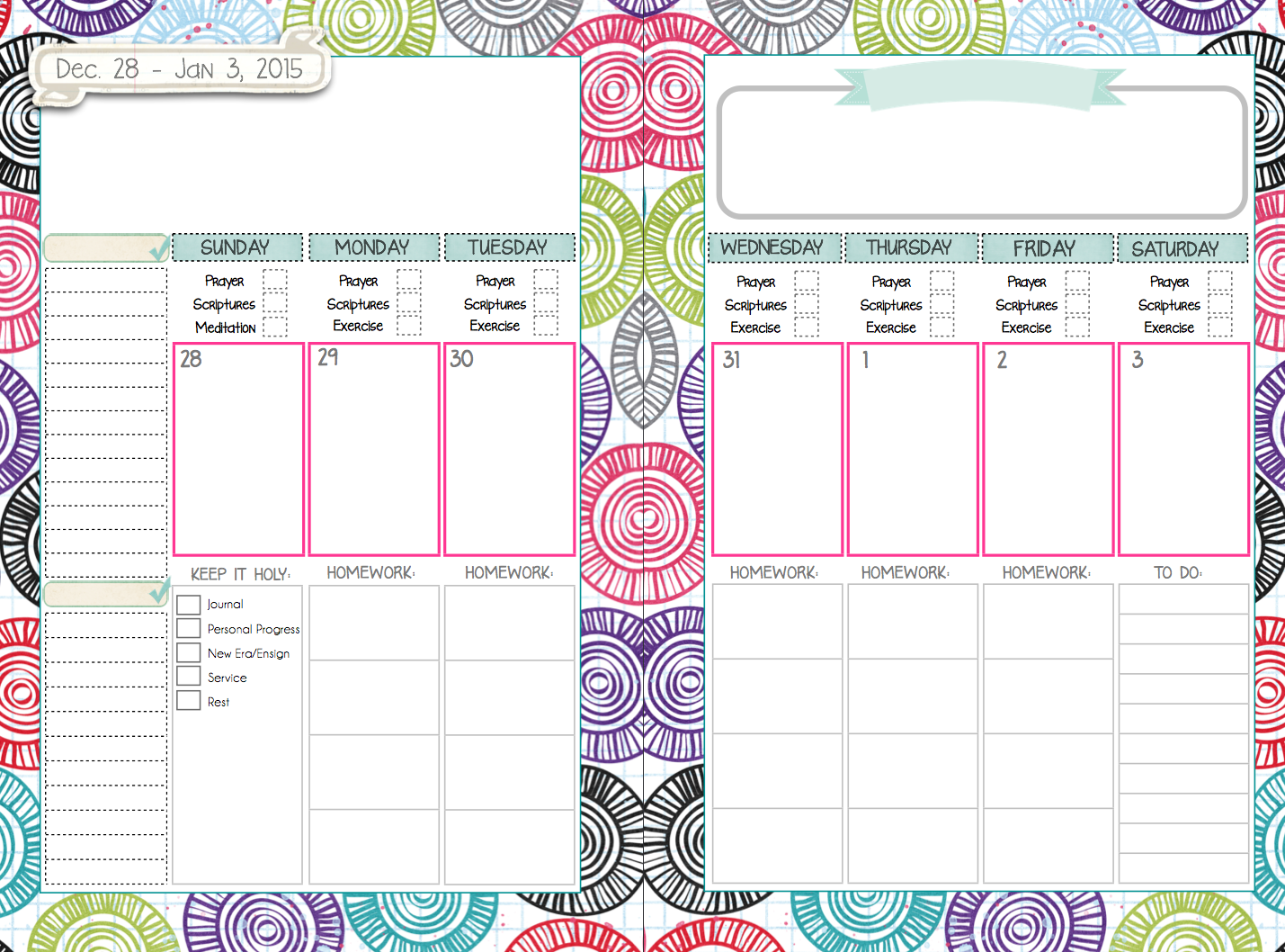 7 Day Weekly Planner Template Cute | Search Results ...