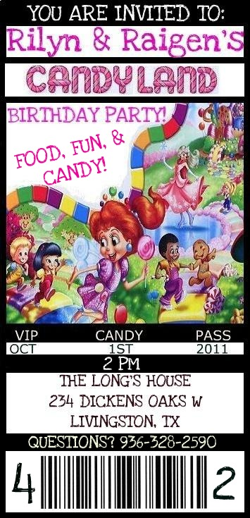 Candy Land Theme Invitations http://allaboutthelongs.blogspot.com/2011/06/candyland-themed-birthday-invitaitons.html
