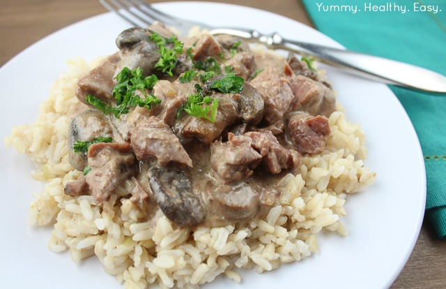 Slow Cooker Beef Stroganoff - Yummy Healthy Easy