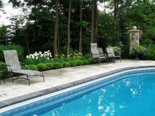 Garden design landscaping ideas for pools for Pool landscaping pictures