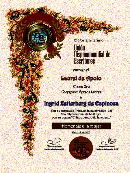 Primer puesto en Unión Hispano mundial de escritores