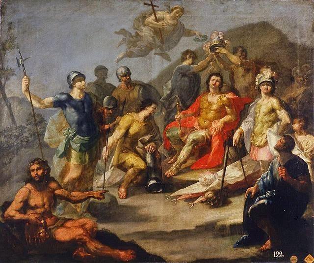 Proclamación de Don Pelayo como rey de Asturias obra del pintor español Francisco Casanova