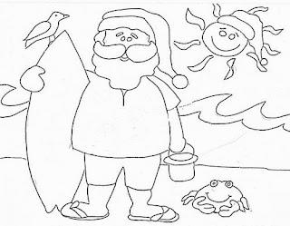 desenho papai noel na praia