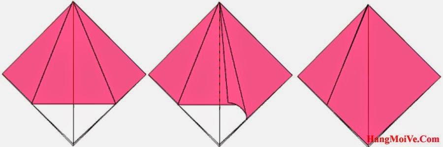Bước 7: Lật lớp giấy phía trên từ bên trái sang bên phải (hình 2) để tạo thành một hình như hình 3.