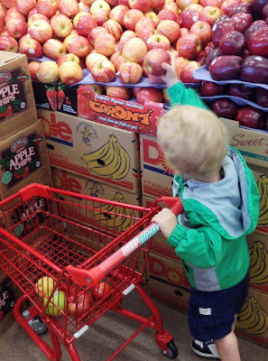 kid picking apples