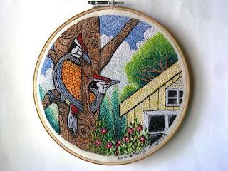 woodpecker embroidery art