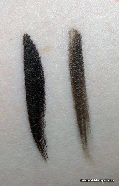 Swatches of  Jordana INCOLOR Fabuliner Liquid Eyeliner Pen in Brown (left) and e.l.f. Waterproof Eyeliner Pen in Coffee (right)