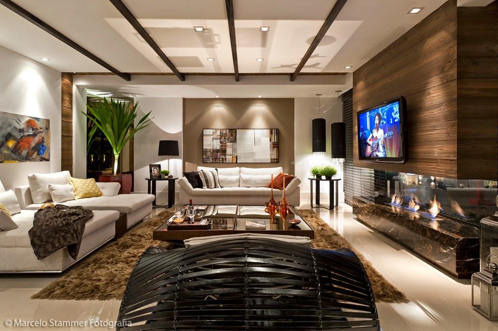 Lareira Para Sala De Tv ~ ecológica revestida de mármore imperador marrom e painel de tv de