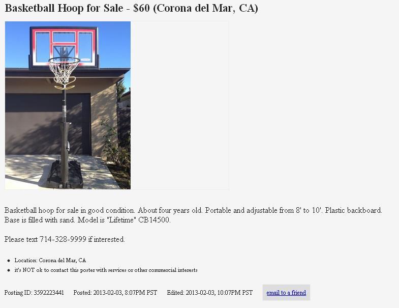 Basketball Hoop Craigslist   All Basketball Scores Info