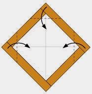 Bước 4: Gấp ba góc của tờ giấy vào phía trong.