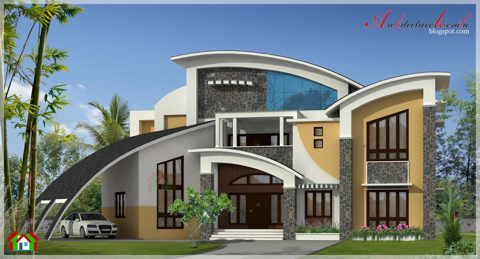 5800 square feet contemporary style house elevation for Contemporary building elevation