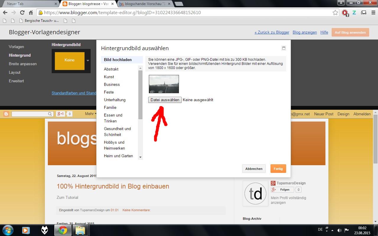 blogschande: 100% Hintergrundbild in Blog einbauen