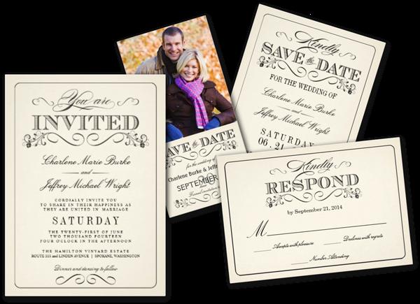 Vintage White Elegant Wedding Invitation