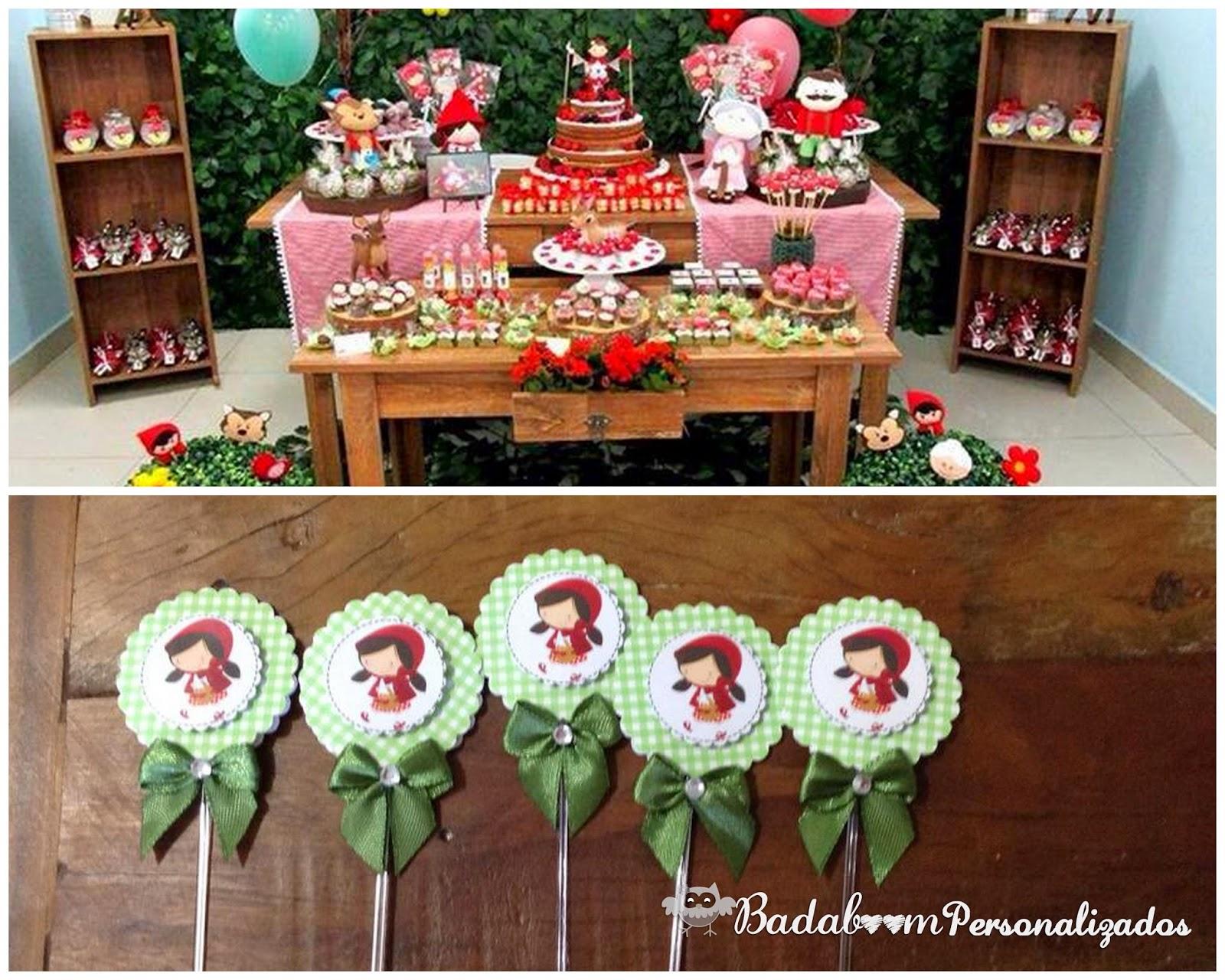 Festa, infantil decoração, personalizados, chapeuzinho vermelho