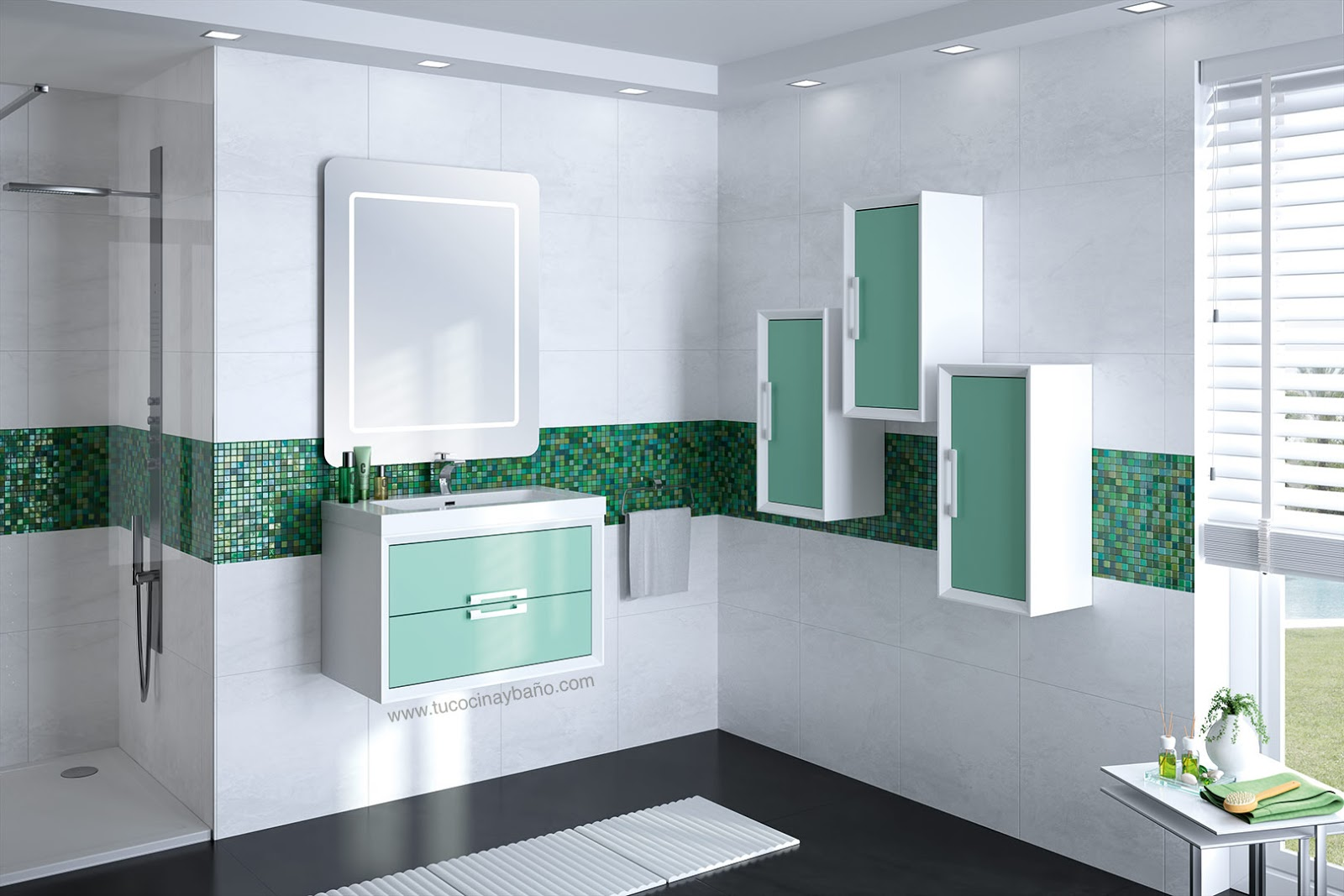 Mueble satinado bicolor deobas tu cocina y ba o for Banos blancos y verdes