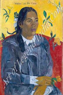 "The Great Artist Paul Gauguin Painting ""Tahitian Girl with a flower 1891"" 27 ½ x 18 Ny Carlsberg Glyptotek, Copenhagen"