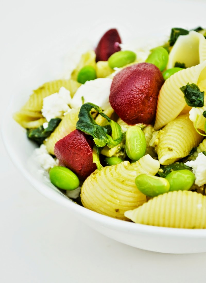 Pasta Salad with Edamame, Feta and Beets