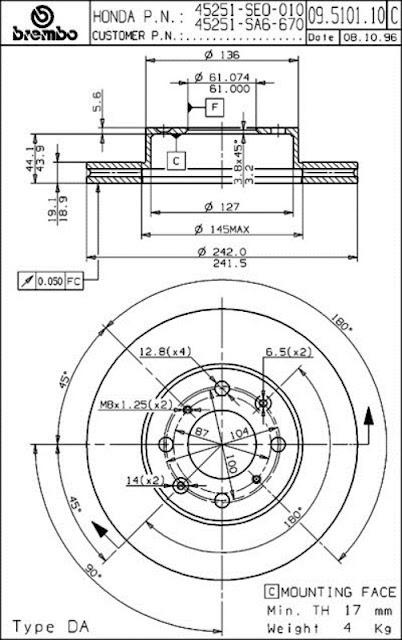 Brake Disc Honda PRESTIGE ACCORD III / F 1.6 36-89 CA4 CA5 (09.5101.10)