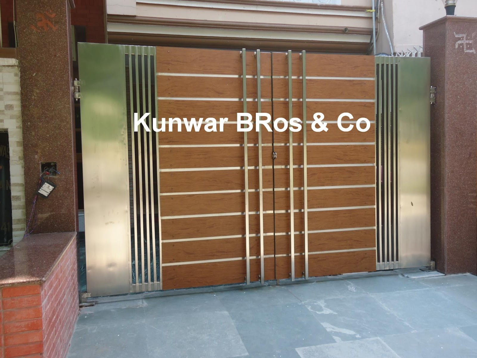 Kunwar bros co stainless steel main gate for Wooden main gate design