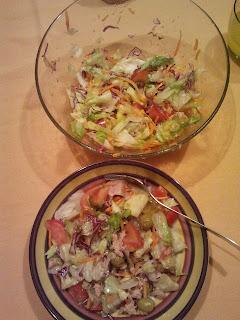 cena bocata jamón y ensalada