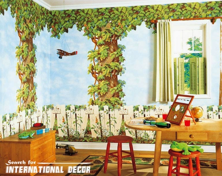 childrens wallpaper murals, nursery wallpaper, kids wallpaper forest theme
