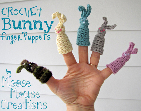 Moose Mouse Creations Crochet Bunny Finger Puppets