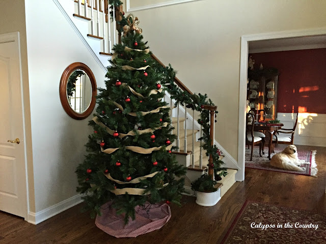Christmas Foyer with Golden Retriever