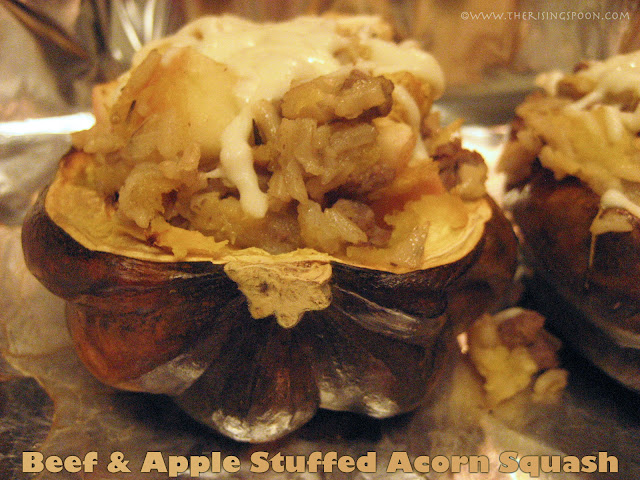 The Rising Spoon Blog: Beef, Apple &amp; Brown Rice Stuffed Acorn Squash 