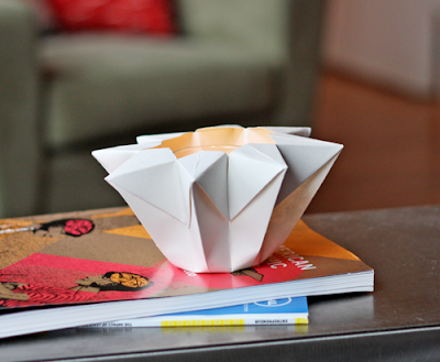 Make an origami star lantern how about orange for Cardboard candle holders