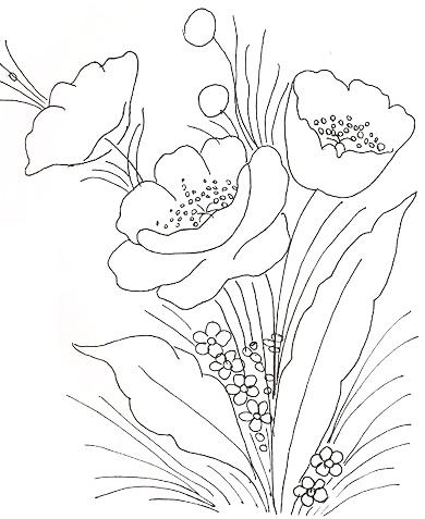 Risco Para Pintar Flores Em Tecido Ramo Papoulas