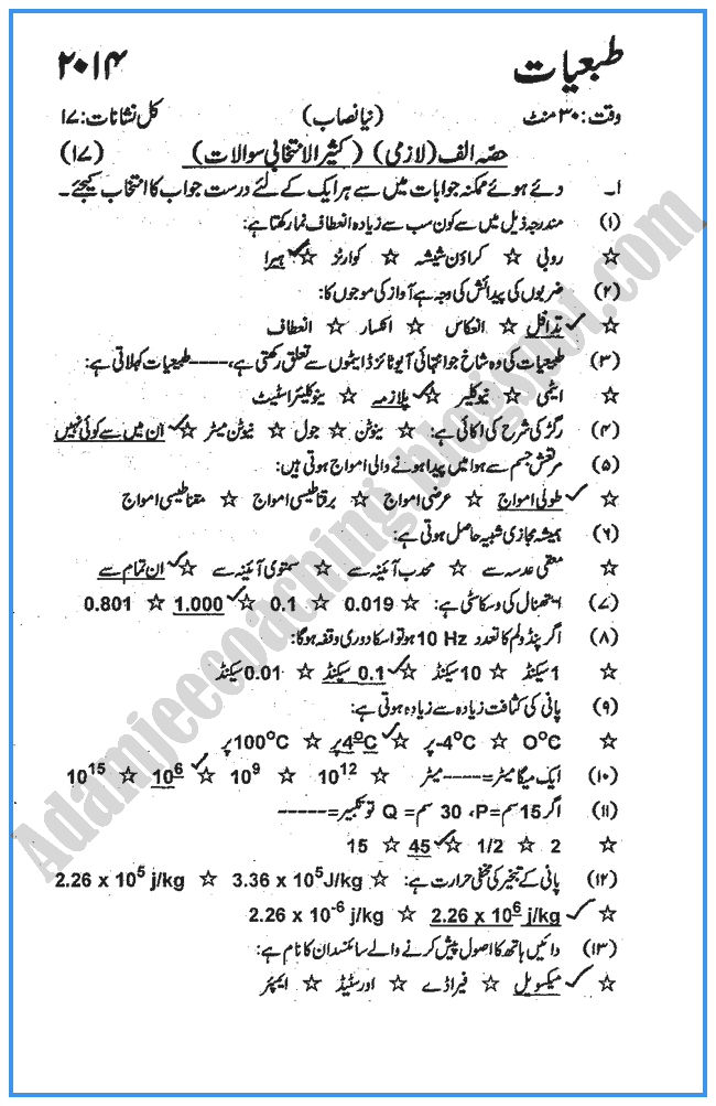 Physics Paper 10th Lahore Board Class of 2014