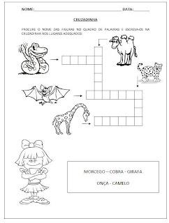 Cruzadinha com animais e banco de palavras - Atividades para Alfabetização.