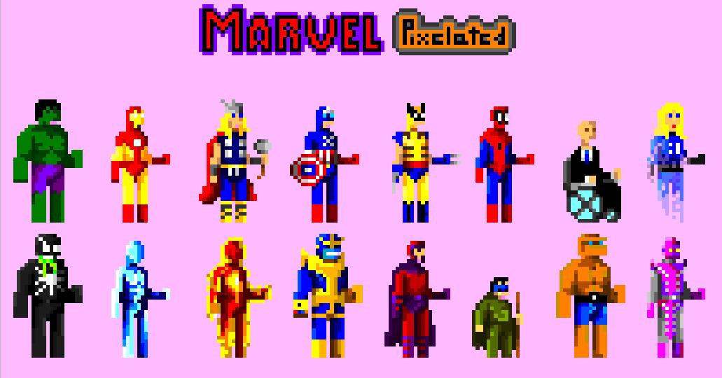 marvel, hulk, spiderman, magneto, venom, ironman, thor, thanos, Wolverine, Xavier, pixel