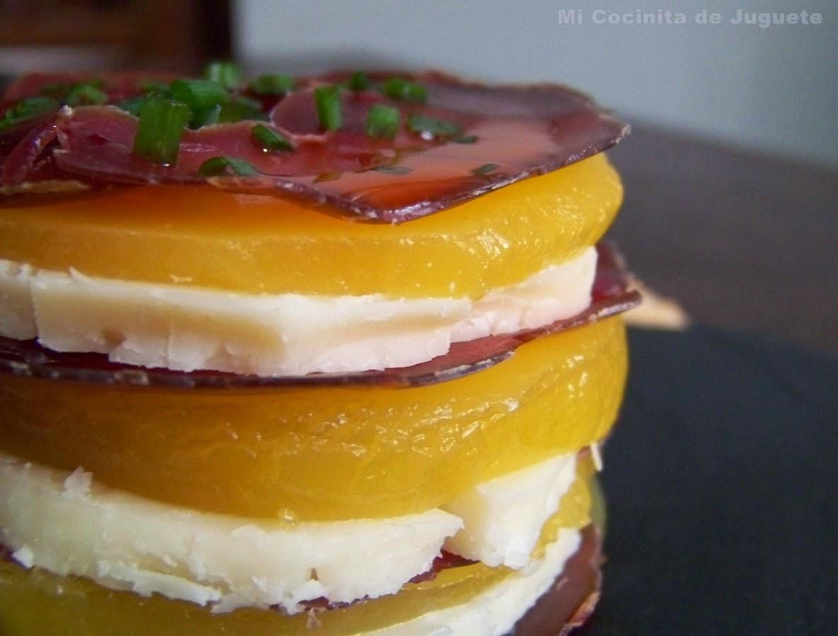 Milhojas de Cecina de Ciervo, Queso y Gelatina de Naranja