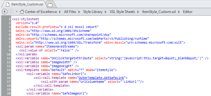 Image of SharePoint Designer 2013 in Code View using Consolas at 8pt
